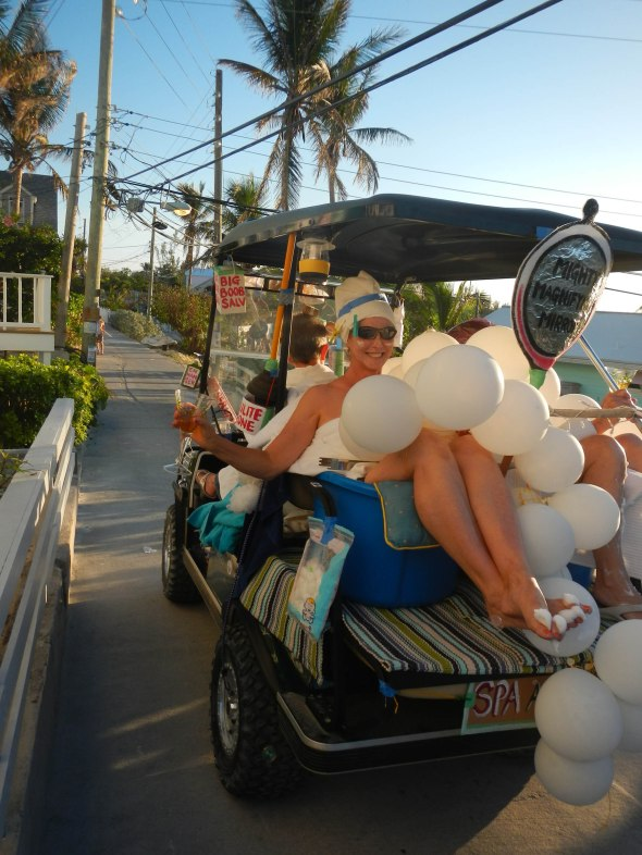 They love golf cart parades here.  This was the winner, day spa for ladies, clever and well done.