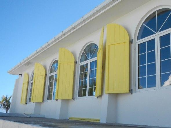 Shutters outside the main Church, bright yellow!