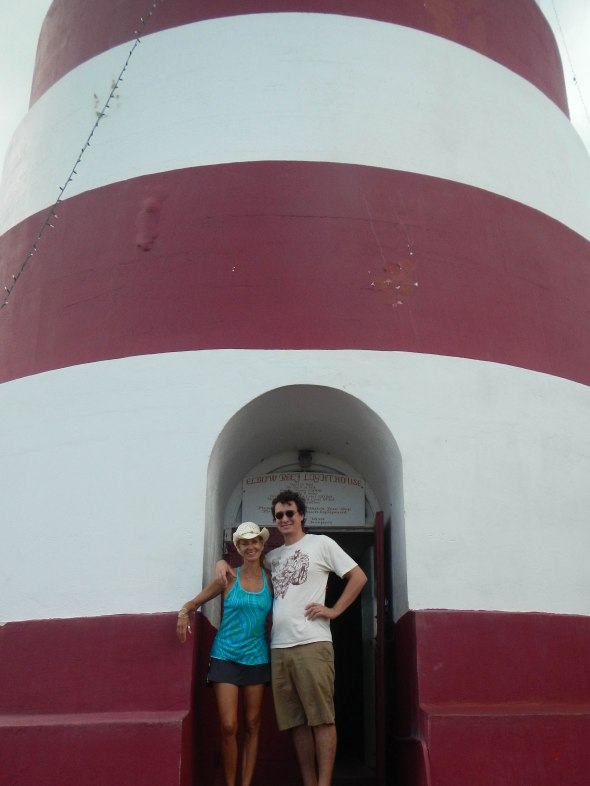 Alek and Patricia at base of lighthouse
