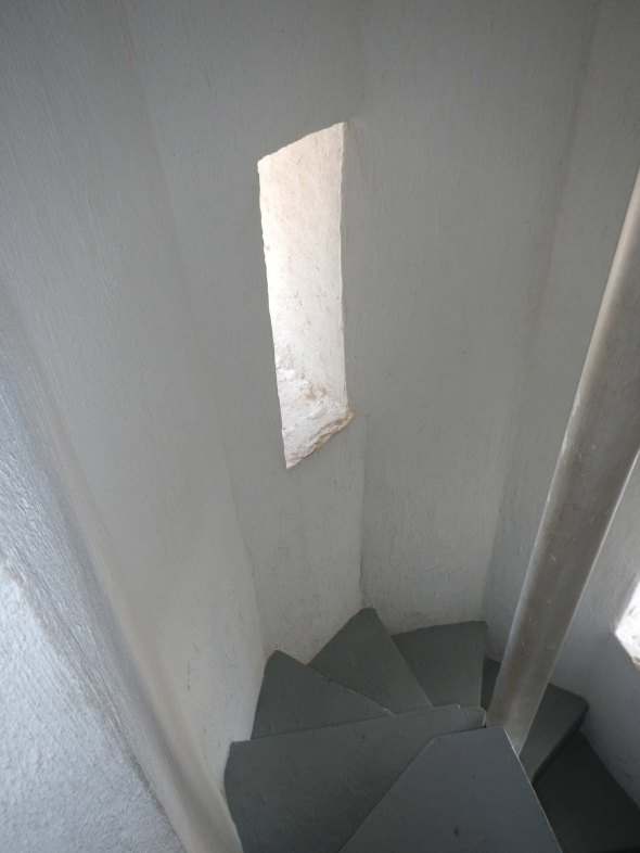 Tight corners up to the tower.