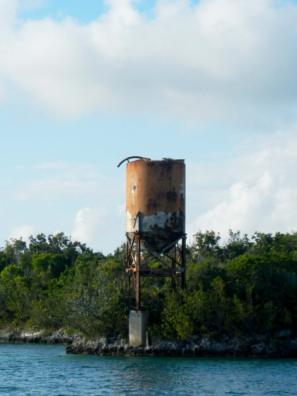 Water tower on iron shore...waiting to eat the hull.