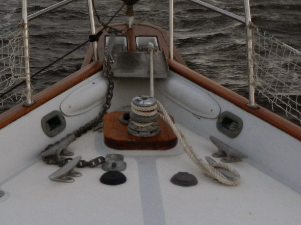 two wraps around windlass, then to a cleat is normal tie up